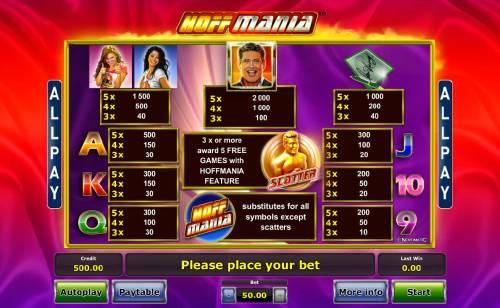 Hoffmania Big Bonus Slots Slot game symbols paytable