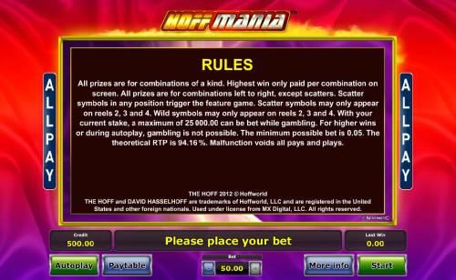 Hoffmania Big Bonus Slots General Game Rules - The theoretical average return to player (RTP) is 94.16%.