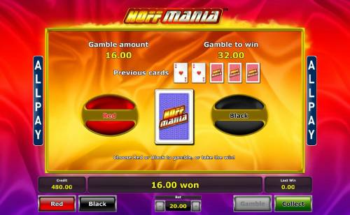 Hoffmania Big Bonus Slots Gamble feature game board is available after every winning spin. For a chance to increase your winnings, select the correct color of the next card or take win.