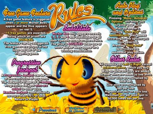 Honey To The Bee Big Bonus Slots Free Games, Wild, Progressive Jackpot and General Game Rules.