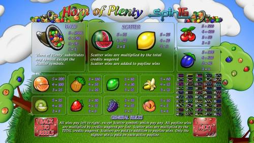 Horn of Plenty Spin 16 Big Bonus Slots Paytable