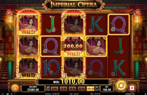 Imperial Opera Big Bonus Slots Stacked wilds triggers a big win