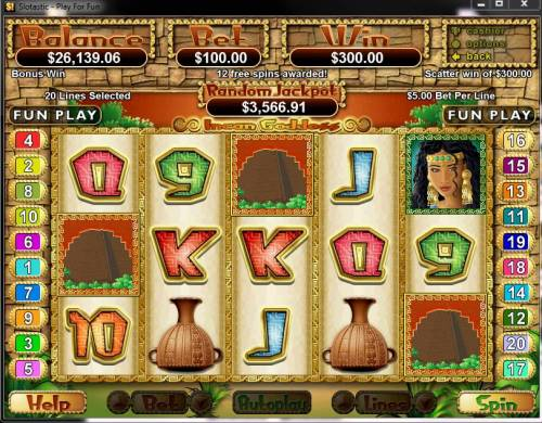 Incan Goddess review on Big Bonus Slots