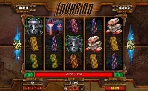 Invasion Big Bonus Slots Main Game Board