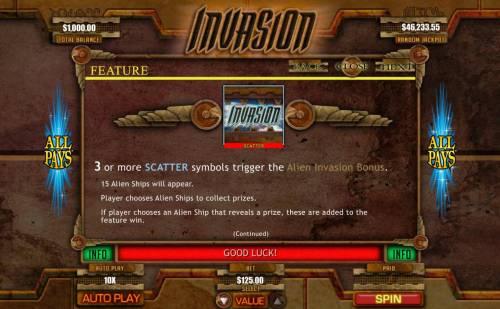 Invasion Big Bonus Slots Scatter Symbol Rules