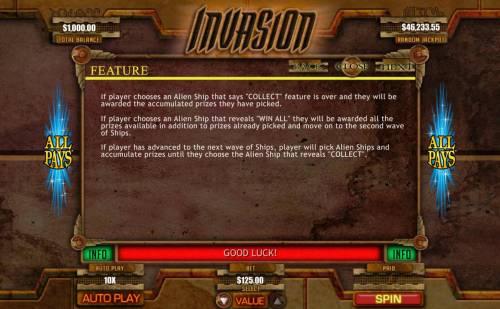 Invasion Big Bonus Slots Bonus Feature Rules
