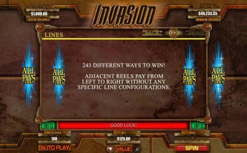 Invasion Big Bonus Slots 243 Ways to Win