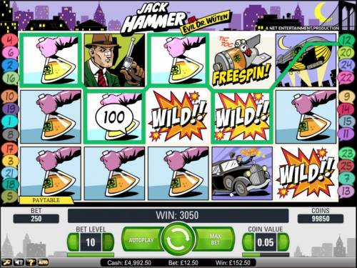 Jack Hammer Vs. Evil Dr. Wuten review on Big Bonus Slots