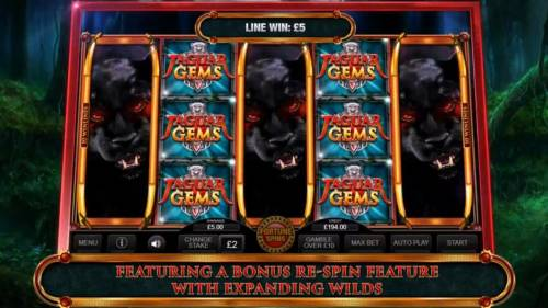 Jaguar Gems Big Bonus Slots Game features a bonus re-spin with expanding wilds