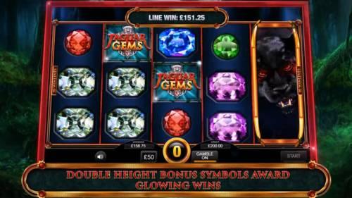 Jaguar Gems Big Bonus Slots Double height bonus symbols award glowing wins