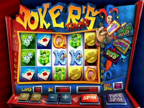 Joker's Tricks Big Bonus Slots Main game board featuring five reels and 20 paylines with a $200 max payout
