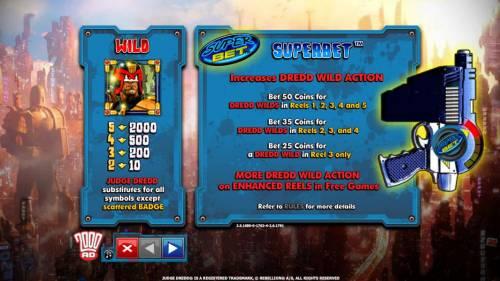 Judge Dredd Big Bonus Slots Wild paytable and rules