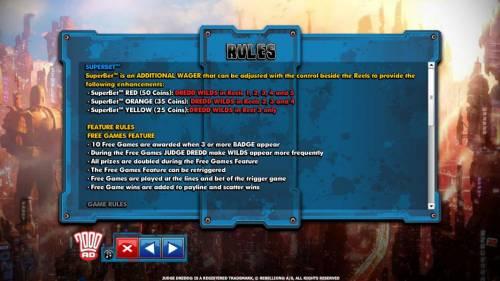 Judge Dredd Big Bonus Slots Game rules.