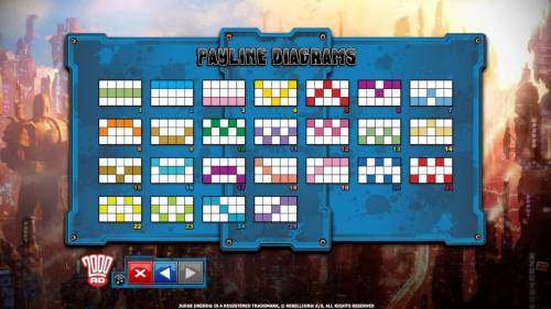 Judge Dredd Big Bonus Slots Payline diagrams