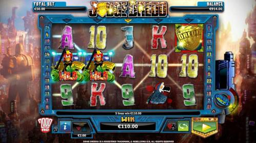 Judge Dredd Big Bonus Slots Multiple winning paylines triggered by a couple of wild symbols