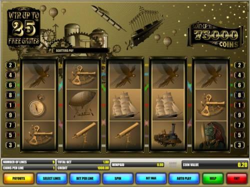 Jules Verne Big Bonus Slots main game board featuring five reels and nine paylines