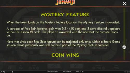 Jumanji Big Bonus Slots Mystery Feature Rules