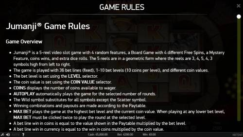 Jumanji Big Bonus Slots General Game Rules