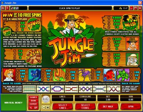 Jungle Jim review on Big Bonus Slots