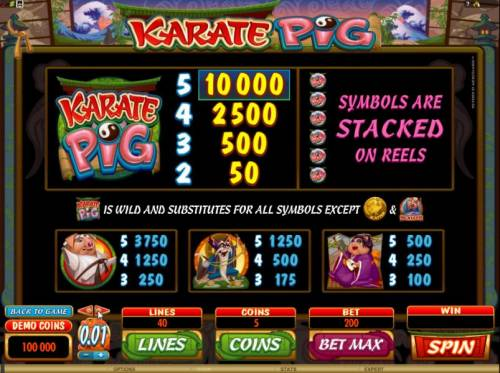 Karate Pig review on Big Bonus Slots