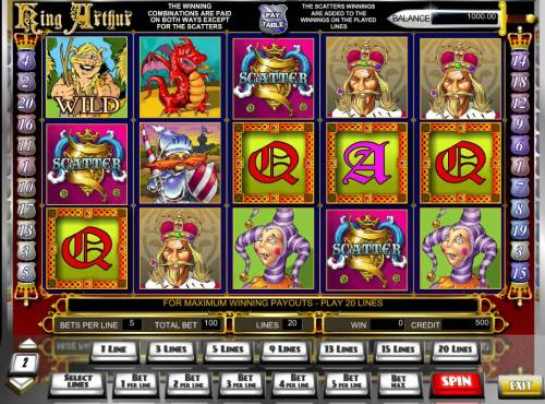 King Arthur Big Bonus Slots Main game board featuring three reels and 25 paylines with a $10,000 max payout.