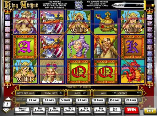 King Arthur Big Bonus Slots Multiple winning paylines triggers a big win!