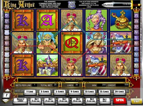 King Arthur Big Bonus Slots A 200 coin win triggered by a pair of paylines