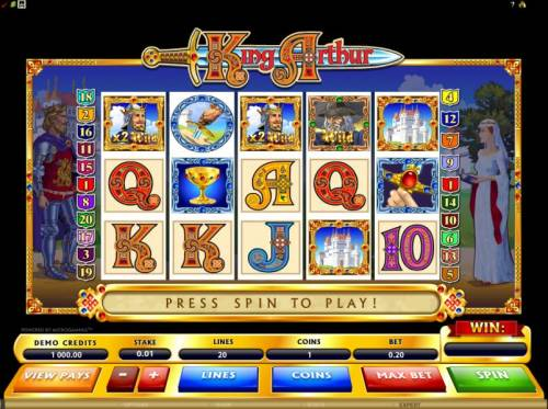 King Arthur Big Bonus Slots main game board featuring 5 reels and 20 paylines