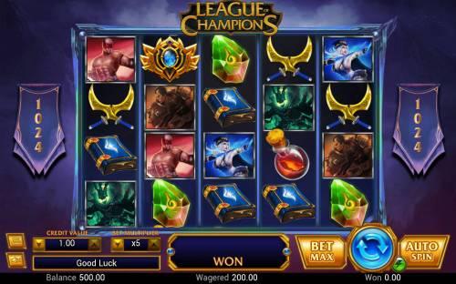 League of Champions Big Bonus Slots Main Game Board