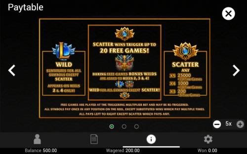 League of Champions Big Bonus Slots Wild and Scatter Symbol Rules