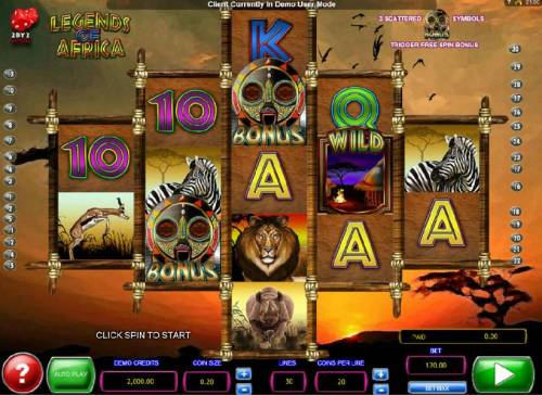 Legends of Africa Big Bonus Slots Main game board featuring five reels and 30 paylines with a $2,000 max payout