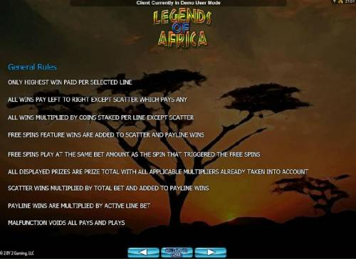 Legends of Africa Big Bonus Slots General Game Rules