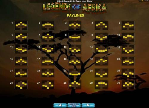 Legends of Africa Big Bonus Slots Payline Diagrams 1-30