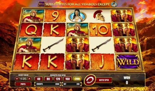 Leonidas King of the Spartans Big Bonus Slots Main game board featuring five reels and 40 paylines with a $1,250 max payout