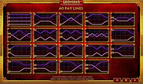 Leonidas King of the Spartans Big Bonus Slots Payline Diagrams 1-40
