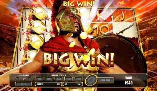 Leonidas King of the Spartans Big Bonus Slots Group Leonidas Win triggered