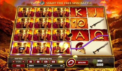 Leonidas King of the Spartans Big Bonus Slots A 6000 coin mega win triggered by stacked symbols on reels 1,2 and 3.