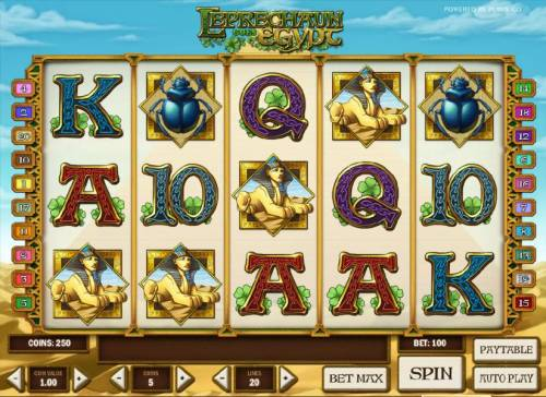 Leprechaun goes Egypt Big Bonus Slots main game board featuring five reels and twenty paylines