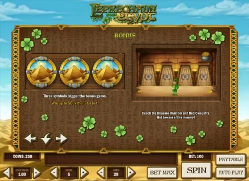 Leprechaun goes Egypt Big Bonus Slots bonus feature rules