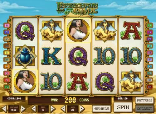 Leprechaun goes Egypt Big Bonus Slots two scatter symbols trigger a 200 coin jackpot