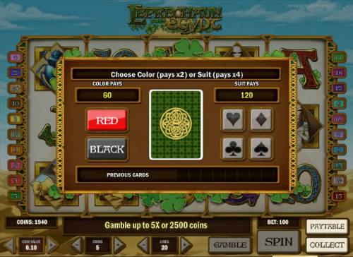 Leprechaun goes Egypt Big Bonus Slots gamble feature game board - choose color or suit for a chance to increase your winnings