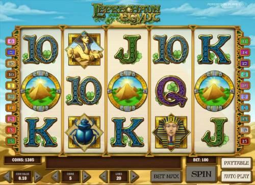 Leprechaun goes Egypt Big Bonus Slots three pyramid symbols triggers bonus game