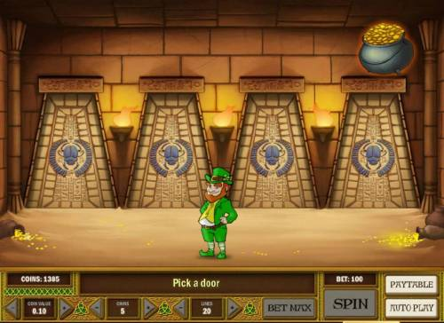 Leprechaun goes Egypt Big Bonus Slots bonus feature game board - choose a door