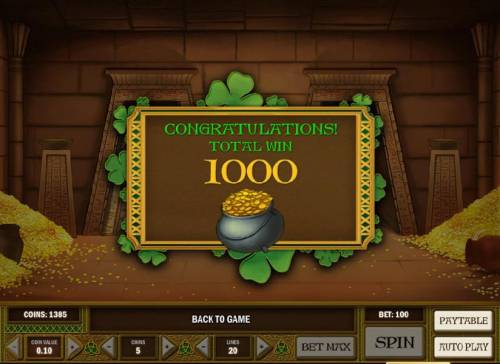 Leprechaun goes Egypt Big Bonus Slots 1000 coins awarded during bonus feature