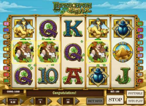 Leprechaun goes Egypt Big Bonus Slots three scatter symbols triggers free spins feature
