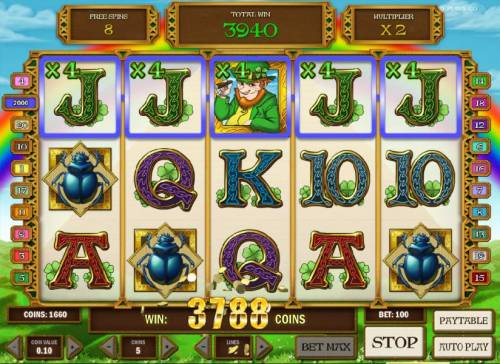 Leprechaun goes Egypt Big Bonus Slots 3788 coin jackpot triggered by multiple winning paylines during free spins features