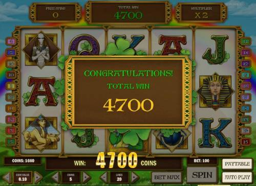 Leprechaun goes Egypt Big Bonus Slots the free spins feature pays out a 4700 coin jackpot