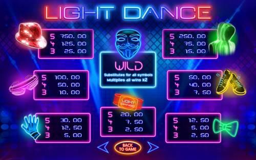 Light Dance Big Bonus Slots Paytable