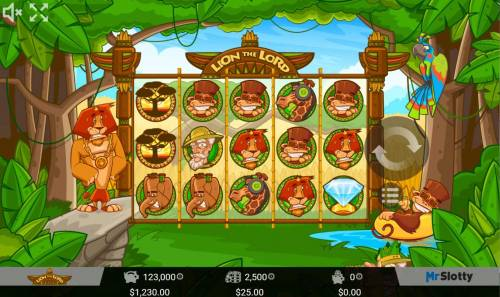Lion the Lord Big Bonus Slots Main game board featuring five reels and 25 paylines with a $200,000 max payout.