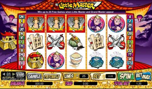 Little Master Big Bonus Slots main game board featuring five reels and 25 paylines